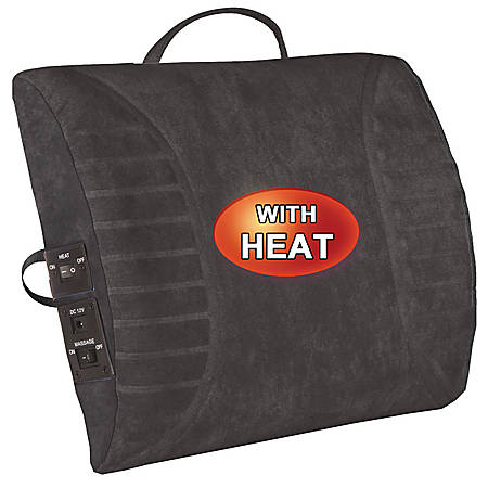 Comfort Products Massaging Lumbar Cushion With Heat, Black Mesh