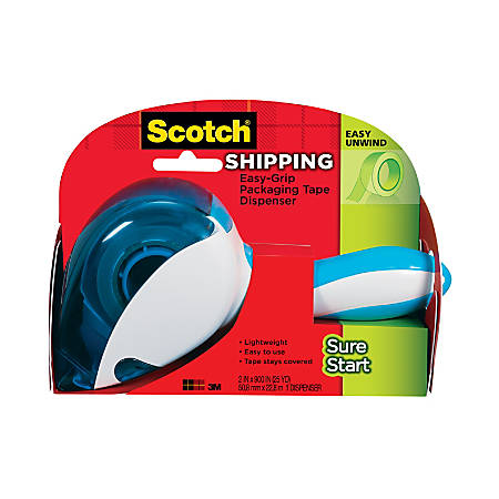 "Scotch® Sure Start Shipping Tape Dispenser, 1.5"" Core, With 1 Roll Of Sure Start Tape"