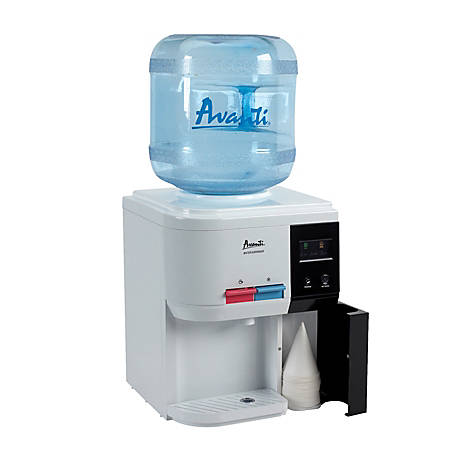 "Avanti® Hot/Cold Table-Top Water Dispenser, 15 3/4"" x 12 1/4"" x 12 3/4"", Black/White"