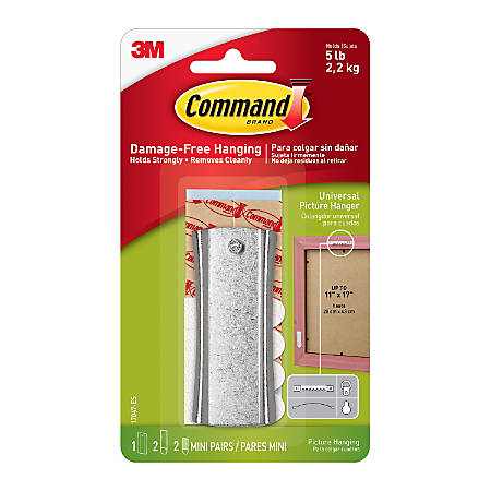 "Command™ Damage-Free Picture Hanging Sticky Sawtooth Nail, 5/8"" x 1 3/8"", White"