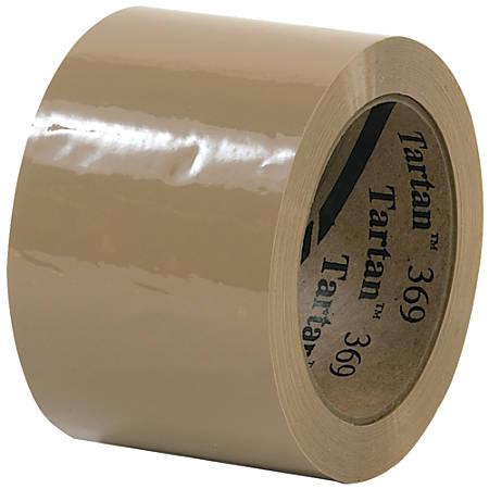 "Tartan™ 369 Carton-Sealing Tape, 3"" Core, 3"" x 110 Yd., Tan, Pack Of 6"