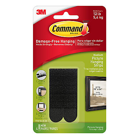 3M™ Command™ Damage-Free Picture-Hanging Strips, Medium, Black, Pack Of 4 Strips