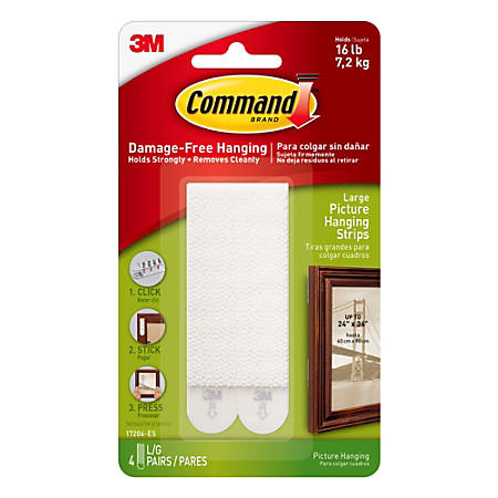 ... White Large 4-Water Resistant Strips Command Bath Picture Hanging Strips