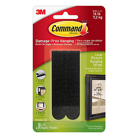 Command Damage Free Picture Hanging Strips Large Black Pack Of - Office depot window decals instructions