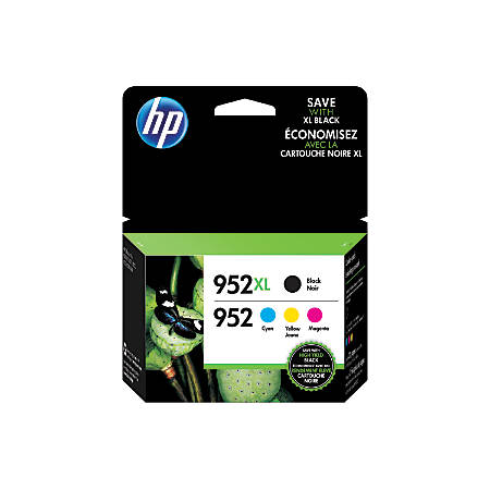HP 952XL/952 Black/Cyan/Magenta/Yellow Ink Cartridges (N9K28AN), Pack Of 4 Cartridges