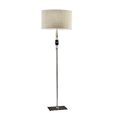"""Adesso® Carson Floor Lamp, 64-1/2""""H, Taupe Shade/Brushed Steel/Marble Base"""