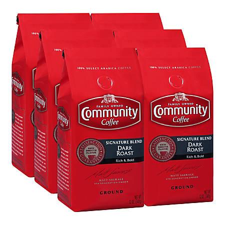 Community Coffee Arabica Ground Coffee, Signature Blend, 12 Oz, Carton Of 6 Bags