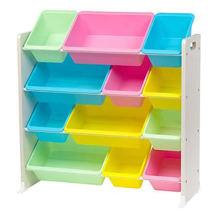 "IRIS 4-Tier Storage Bin Organizer Rack, 35-1/4""H x 34""W x 13-3/4""D, Pastel Multicolor"