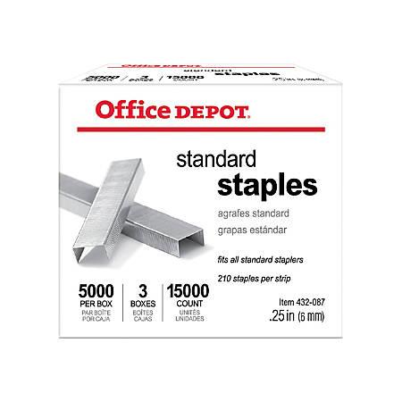 """Office Depot® Brand Standard Staples, 1/4"""", 5,000 Staples Per Pack, Box Of 3 Packs"""
