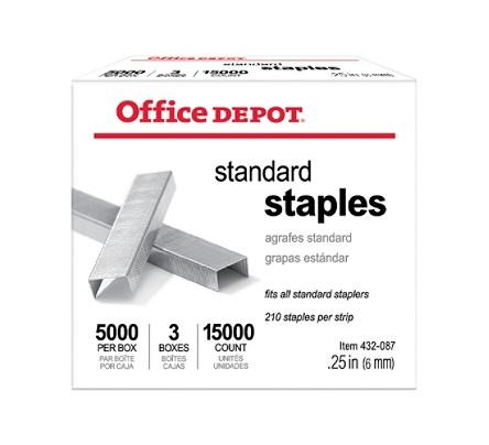 Office Depot® Brand Standard Staples, 1/4