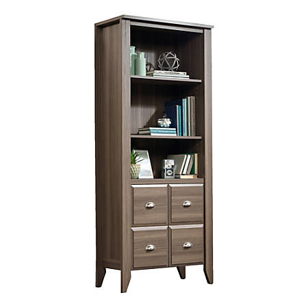 Sauder® Shoal Creek 4-Shelf Bookcase With 2 Doors, Diamond Ash
