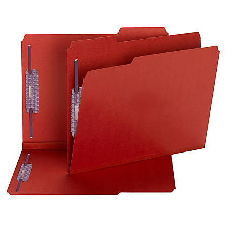 Smead® Color Pressboard Fastener Folders With SafeSHIELD® Coated Fasteners, Letter Size, 1/3 Cut, 50% Recycled, Bright Red, Box Of 25