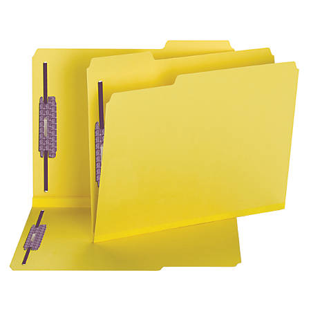 Smead® Color Pressboard Fastener Folders With SafeSHIELD® Coated Fasteners, Letter Size, 1/3 Cut, 50% Recycled, Yellow, Box Of 25