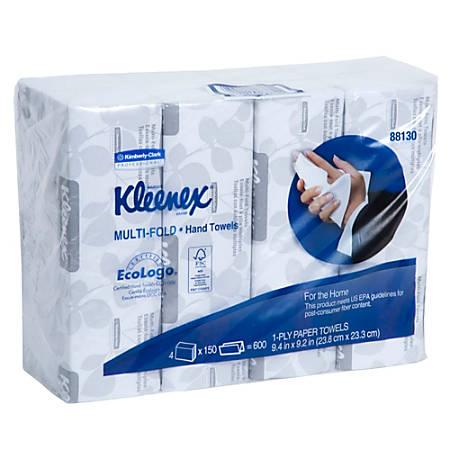 """Kleenex® Multi-Fold 1-Ply Hand Towels, 9-3/16"""" x 9-3/8"""", 150 Towels Per Sleeve, Pack Of 4 Sleeves"""