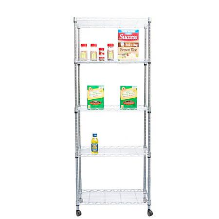 Mind Reader Steel Storage Rack Shelving Unit With Wheels, 4 Shelves, Silver