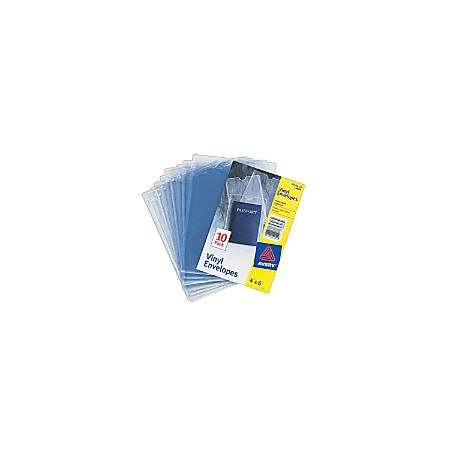 "Avery® Vinyl Envelopes, Clear, 4"" x 6"", Pack Of 10"