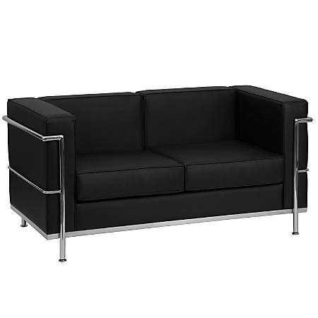 Flash Furniture HERCULES Regal Series Contemporary Leather Loveseat, Black/Stainless Steel