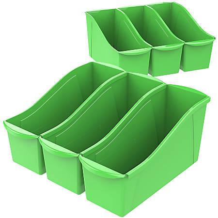 "Storex Large Book Bins, 7""H x 5-5/16""W x 14-5/16""D, Green, Pack Of 6 Bins"