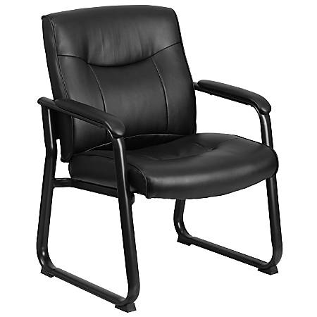 Flash Furniture HERCULES Big & Tall Leather Low-Back Side Chair With Sled Base, Black