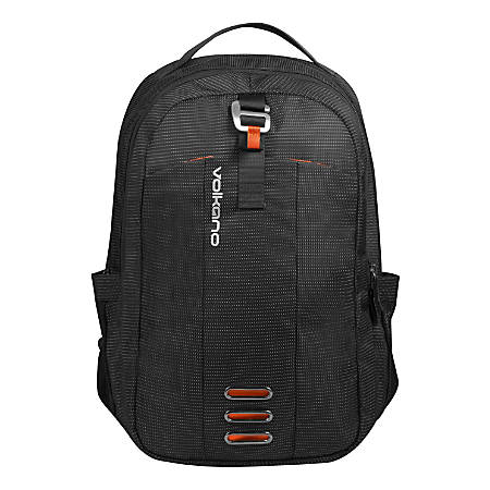 "Volkano Latitude Backpack With 15.6"" Laptop Compartment, Black/Orange"