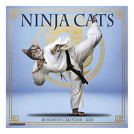 "Willow Creek Press Animals Monthly Wall Calendar, 12"" x 12"", Ninja Cats, January To December 2020"