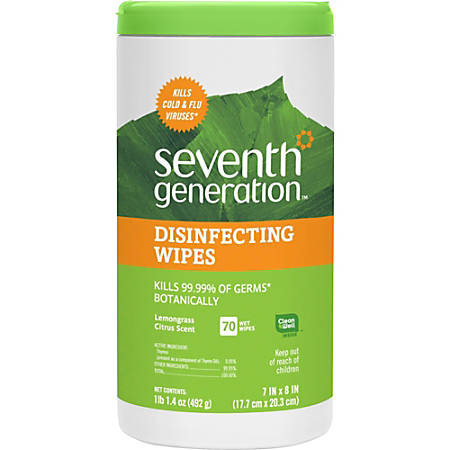 """Seventh Generation Lemongrass Scented Disinfecting Wipes - Wipe - Lemongrass Citrus Scent - 7"""" Width x 8"""" Length - 70 / Canister - 6 / Carton"""