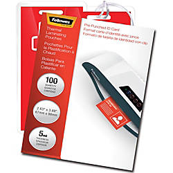 Fellowes Glossy Pouches ID Tag punched