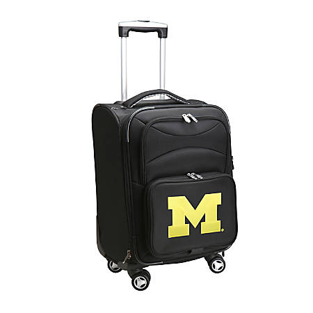 """Denco Sports Luggage Expandable Upright Rolling Carry-On Case, 21"""" x 13 1/4"""" x 12"""", Black, Michigan Wolverines"""