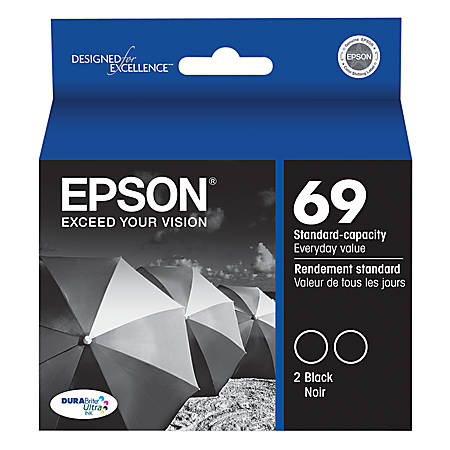 Epson® 69, (T069120-D2) DuraBrite® Black Ink Cartridges, Pack Of 2