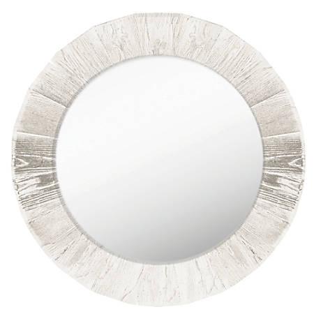 "PTM Images Framed Mirror, Round, 28""H x 28""W, Antique White"