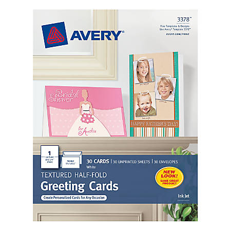 avery half fold textured greeting cards 5 12 x 8 12 white box of 30