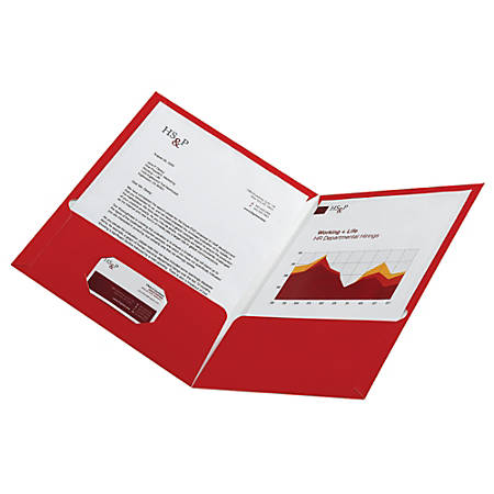 Office Depot® Laminated Paper 2-Pocket Folders, Red, Pack Of 10