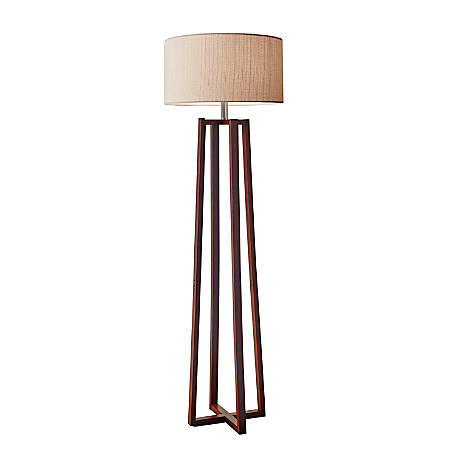 """Adesso® Quinn Floor Lamp, 60""""H, Light Brown Shade/Walnut Base"""