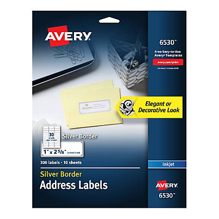 "Avery® Easy Peel® Address Labels With Border, 1"" x 2 5/8"", White/Silver, Pack Of 300 Labels"
