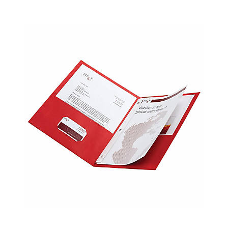 Office Depot® Brand 2-Pocket Textured Paper Folders With Prongs, Red, Pack Of 10