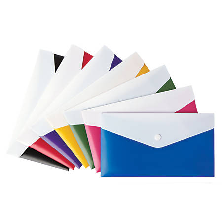 Office Depot® Brand Poly Envelope, Check Size, Assorted Colors (No Color Choice)