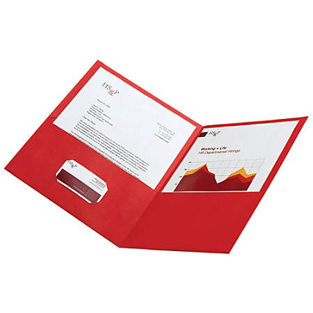 Office Depot® Brand Leatherette Twin-Pocket Portfolios, Red, Pack Of 10