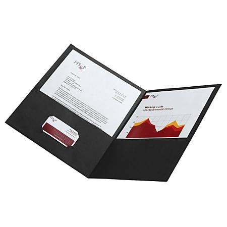 Office Depot® Brand Leatherette Twin-Pocket Portfolios, Black, Pack Of 10