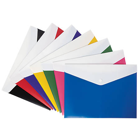 Office Depot® Brand Poly Envelope, Letter Size, Assorted Colors (No Color Choice)