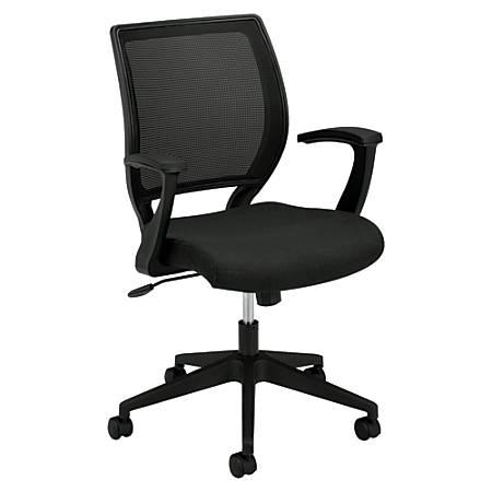 """basyx by HON® VL521 Mesh Mid-Back Task Chair, 41""""H x 26 1/4""""W x 35 1/4""""D, Black"""