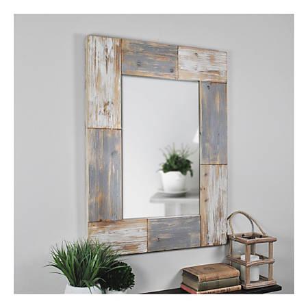 FirsTime & Co.® Mason Planks Rectangular Mirror, Aged White/Gray