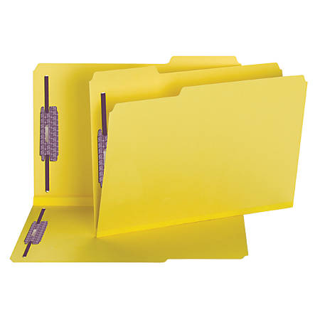 Smead® Color Pressboard Fastener Folders With SafeSHIELD® Coated Fasteners, Legal Size, 1/3 Cut, 50% Recycled, Yellow, Box Of 25