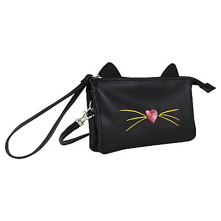 "Office Depot® Brand PVC Cross-Body Mini Wristlet, 4-1/8""H x 7-1/4""W x 2-3/8""D, Cat, Black"