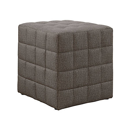 Monarch Specialties Cube Ottoman, Light Brown