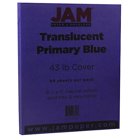 "JAM Paper® Cover Card Stock, 8 1/2"" x 11"", 43 Lb, Translucent Primary Blue, Pack Of 50 Sheets"
