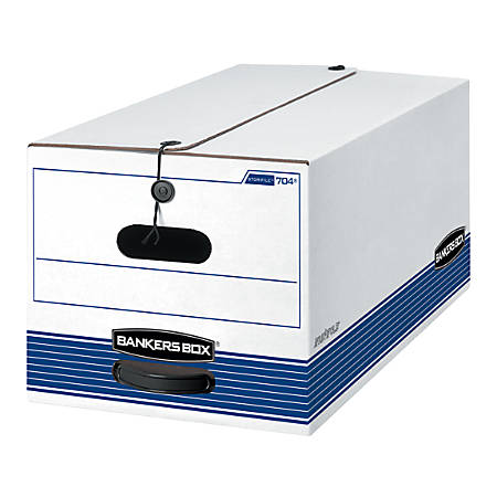 """Bankers Box® Stor/File™ Storage Boxes, String & Button Closure, 24"""" x 12"""" x 10"""", Letter, 60% Recycled, White/Blue, Pack Of 4"""