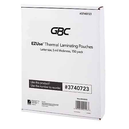 """GBC® EZUse™ Thermal Laminating Pouches, 5 mils, 8 1/2"""" x 11"""", Clear, Pack Of 150, 3740723"""