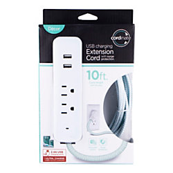 Cordinate 4-Outlet 16-Gauge USB Extension Cord With Surge Protection, 10', Mint/White
