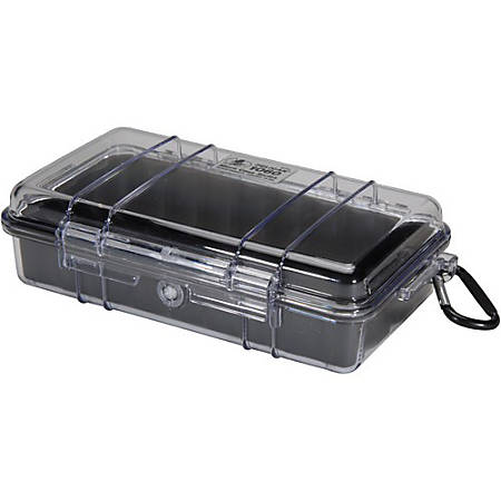 """Pelican Micro Case 1060 with Clear Lid and Carabineer - 5.56"""" x 2.62"""" x 9.37"""" - Steel - Black"""