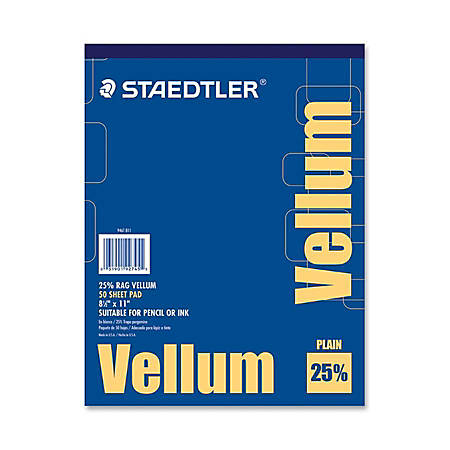 "Staedtler Vellum Paper Pad, Letter Size (8 1/2"" x 11""), 16 Lb, Smooth, Pad Of 50 Sheets"
